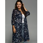 Plus Size Floral Print Chiffon Long Shirt deal