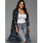 cheap Plus Size Floral Print Chiffon Long Shirt
