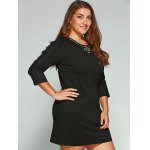 Plus Size Lace Patchwork Rhinestone Embellished Dress deal