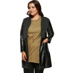 cheap Plus Size Wool Faux Leather Splicing Coat