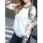 cheap Floral Zip Up Short Jacket