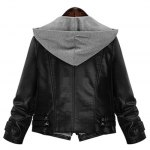 cheap Plus Size Hooded Faux Leather Jacket
