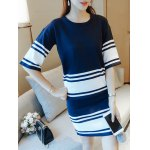 cheap Stretchy Striped Color Spliced Two Piece Dress