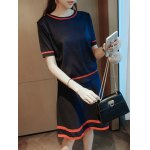 cheap Contrast-Trim Spliced Knitted Two Piece Dress