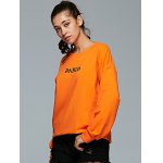 cheap Active Round Neck Long Sleeve Letter Print Sweatshirt