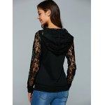 best Lace Up Long Sleeve Lace Spliced Hoodie