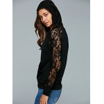 Lace Up Long Sleeve Lace Spliced Hoodie for sale