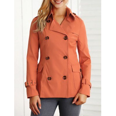 Double-Breasted Pockets Slimming Jacket