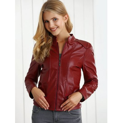 Zipper Flying PU Leather Jacket