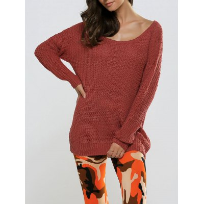Textured Loose-Fitting Long Sweater