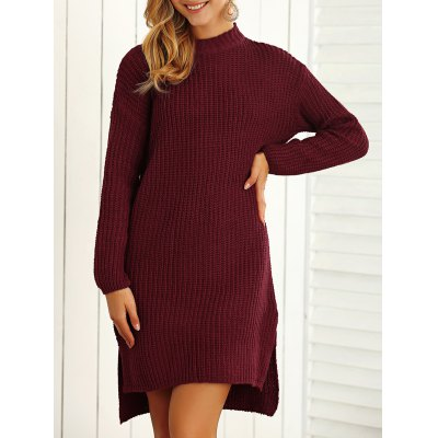 Textured Side Slit Asymmetrical Sweater