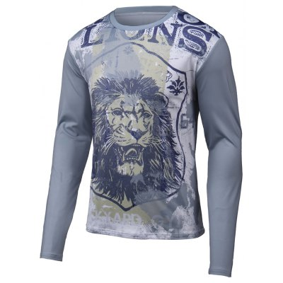 Lion 3D Printed Round Neck Long Sleeve T-Shirt