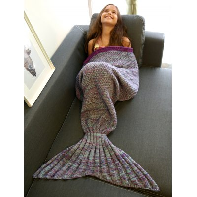 Multi-Colored Knitted Mermaid Tail Design Blanket For Kid