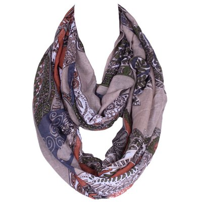 Retro Paisley and Leaf Pattern Voile Scarf