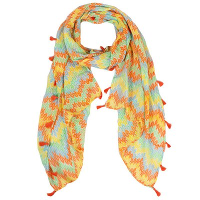 Color Mix Fringe Tassel Knitted Print Voile Scarf