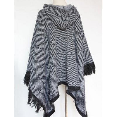 Winter Geometry Square Tassel Hooded Pashmina