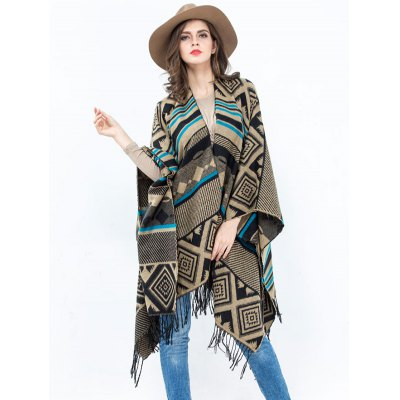 Geometry Rhombus Open Front Tassel Pashmina Poncho