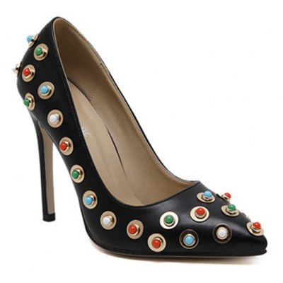 Colorful Bead Stiletto Heel Pumps