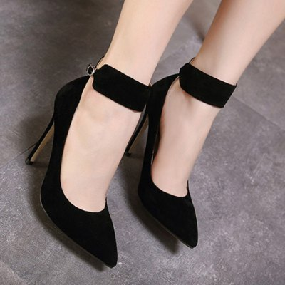 Ankle Strap Flock Pointed Toe Pumps