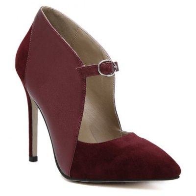 Suede Spliced Pointed Toe Cut Out Pumps