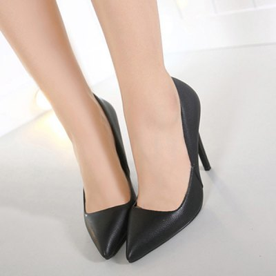 Stiletto Heel PU Leather Pointed Toe Pumps