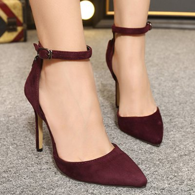 Suede Two-Piece Criss-Cross Pumps