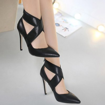Pointed Back Zip Cross-Strap Toe Pumps