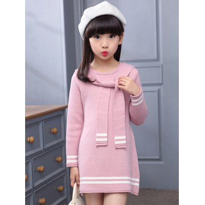 Tie-Front Varsity Striped Knitted Dress