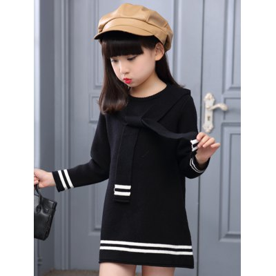 Preppy Style Tie-Front Varsity Striped Knitted Dress