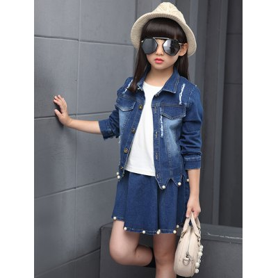 Faux Pearl Embellished Wave Hem Denim Jacket + Skirt SetGirls Clothing<br>Faux Pearl Embellished Wave Hem Denim Jacket + Skirt Set<br><br>Material: Jeans<br>Fabric Type: Denim<br>Clothing Length: Short<br>Sleeve Length: Full<br>Style: Casual<br>Pattern Style: Solid<br>Weight: 0.471kg<br>Package Contents: 1 x Denim Jacket  1 x Skirt