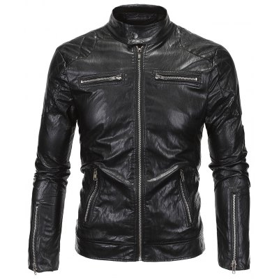 Zippered Spliced Faux Leather Jacket