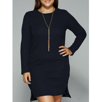 Long Sleeve High Low Mini Sweater Dress