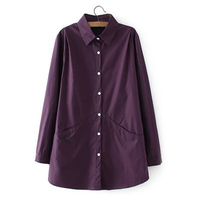 Long Sleeve Buttoned Back Ruched Shirt
