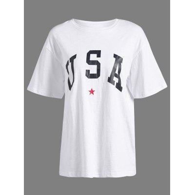 Round Collar Letter Pattern T-Shirt