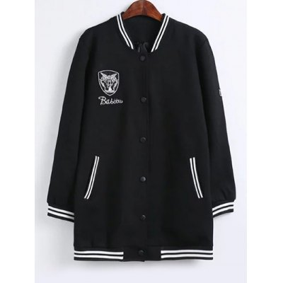 Stand Collar Badged Striped Hem Jacket