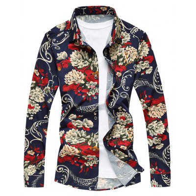 Ornate Floral Print Long Sleeve Plus Size Shirt