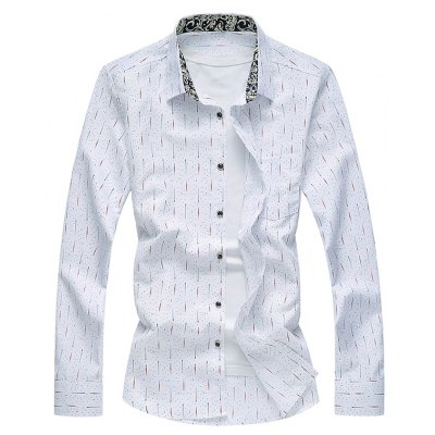Dotted Stripe Floral Lining Long Sleeve Shirt