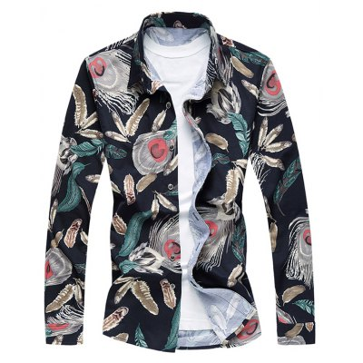 Feather Printed Button Up Long Sleeve Shirt