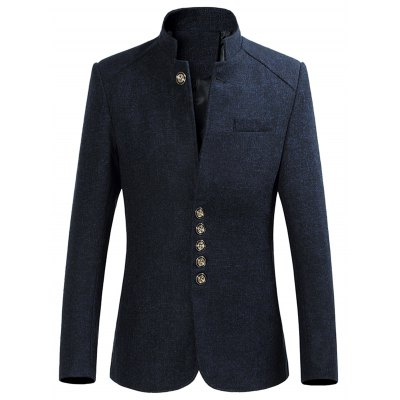Breast Pocket Sleeve Buttons Design Heathered Blazer