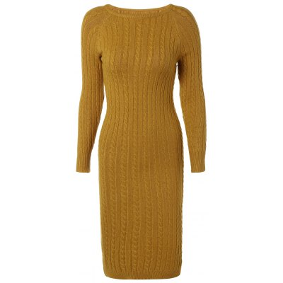 Long Sleeve Cable Knit Bodycon Sweater