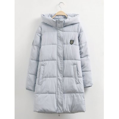 Pocket Design Hooded Badged Down Coat