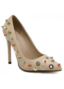 Stiletto Heel Metal Colorful Bead Pumps