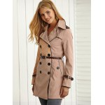 cheap Belted Pockets Trench Coat