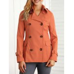 Buy Double Breasted Pockets Jacket 2XL SWEET ORANGE