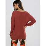 Textured Loose-Fitting Long Sweater deal