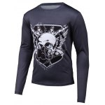 Skull 3D Printed Round Neck Long Sleeve T-Shirt