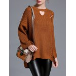 cheap Ripped Bell Sleeve Knitwear