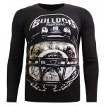 V-Neck 3D Rugby Dog Print Long Sleeve Sweater