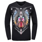 V-Neck 3D Star and Geometric Print Long Sleeve Sweater