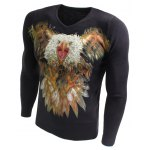 cheap V-Neck 3D Eagle Dog Print Long Sleeve Sweater